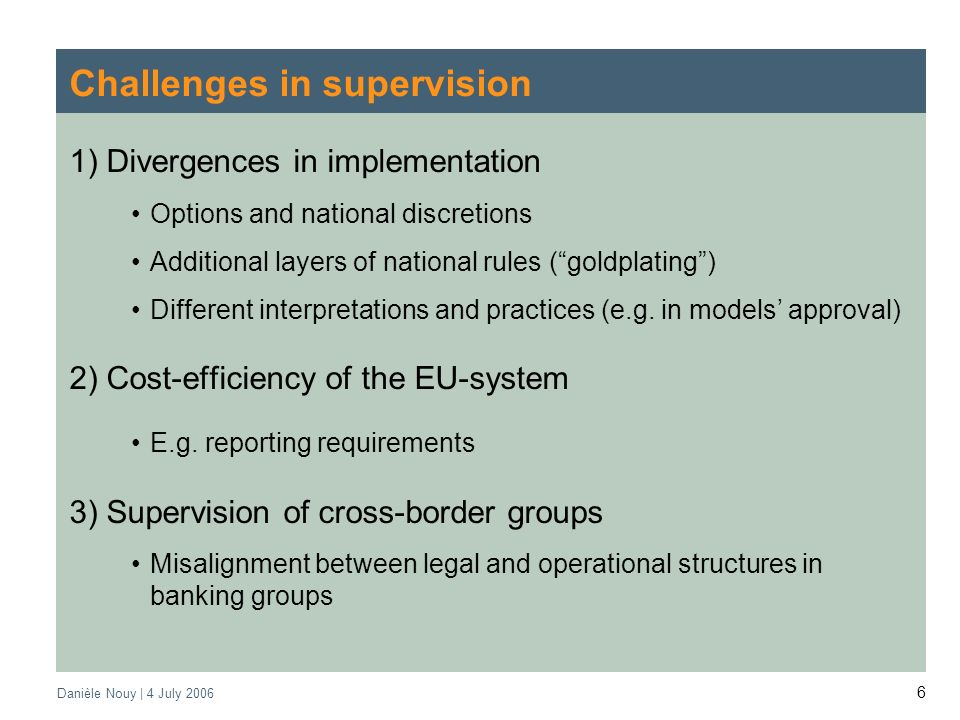 Danièle Nouy | 4 July Challenges in supervision 1) Divergences in implementation Options and national discretions Additional layers of national rules (goldplating) Different interpretations and practices (e.g.