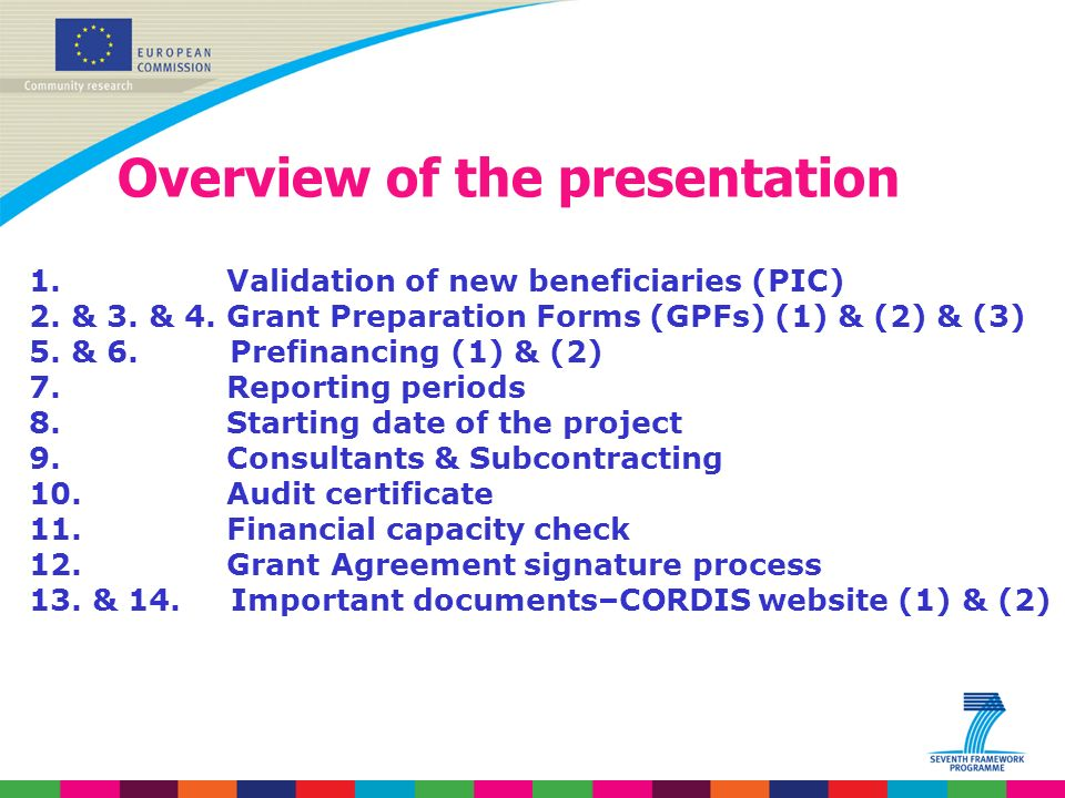 Overview of the presentation 1. Validation of new beneficiaries (PIC) 2.