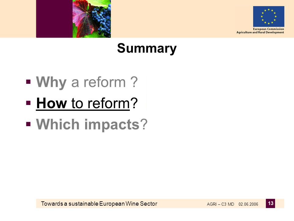 Towards a sustainable European Wine Sector AGRI – C3 MD 02.06.2006 13 Summary Why a reform .