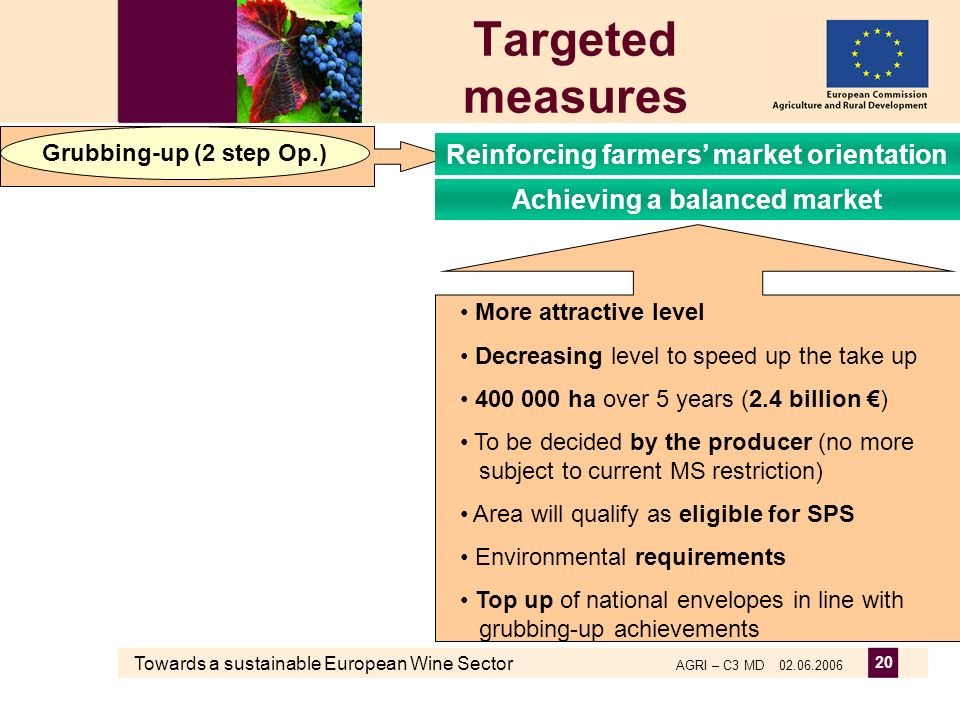 Towards a sustainable European Wine Sector AGRI – C3 MD 02.06.2006 20 Targeted measures More attractive level Decreasing level to speed up the take up 400 000 ha over 5 years (2.4 billion ) To be decided by the producer (no more subject to current MS restriction) Area will qualify as eligible for SPS Environmental requirements Top up of national envelopes in line with grubbing-up achievements Grubbing-up (2 step Op.) Reinforcing farmers market orientation Achieving a balanced market