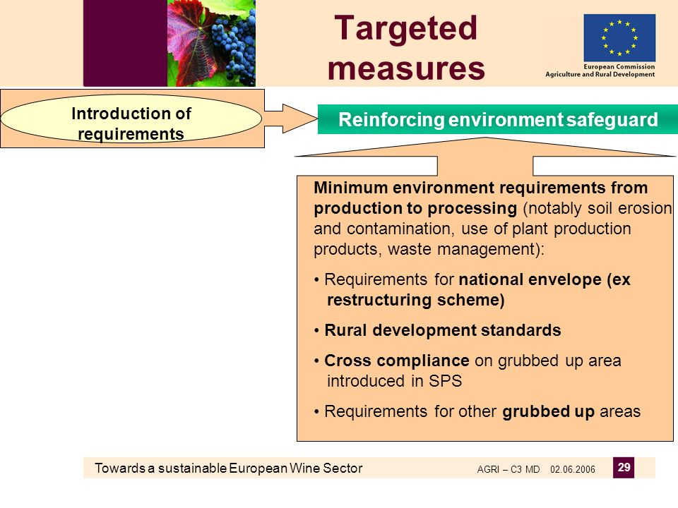 Towards a sustainable European Wine Sector AGRI – C3 MD 02.06.2006 29 Targeted measures Minimum environment requirements from production to processing (notably soil erosion and contamination, use of plant production products, waste management): Requirements for national envelope (ex restructuring scheme) Rural development standards Cross compliance on grubbed up area introduced in SPS Requirements for other grubbed up areas Introduction of requirements Reinforcing environment safeguard