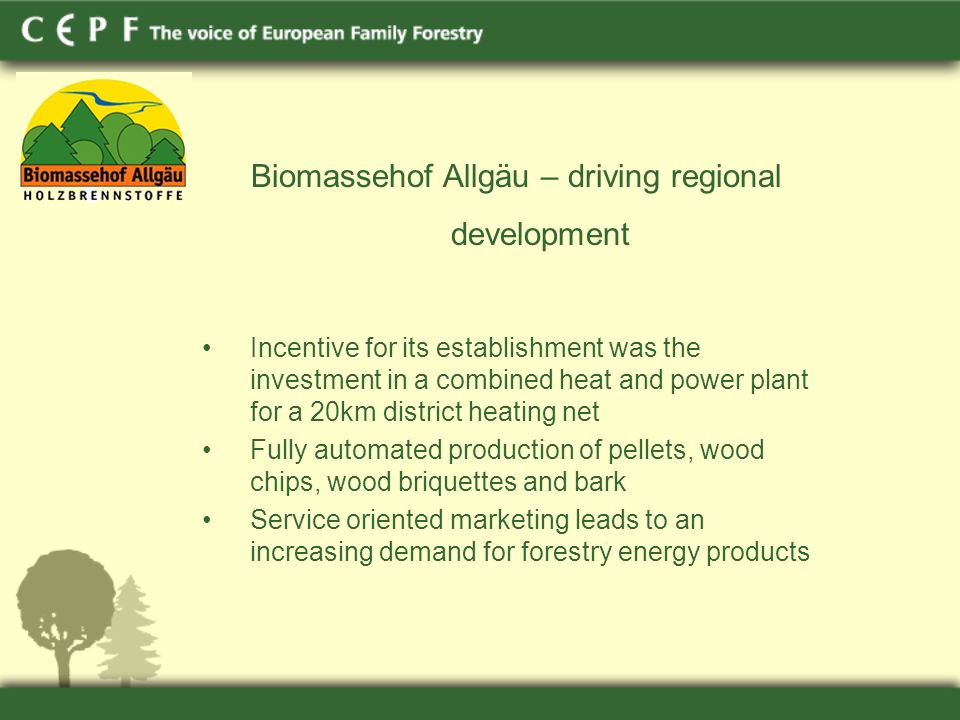 Biomassehof Allgäu – driving regional development Incentive for its establishment was the investment in a combined heat and power plant for a 20km district heating net Fully automated production of pellets, wood chips, wood briquettes and bark Service oriented marketing leads to an increasing demand for forestry energy products