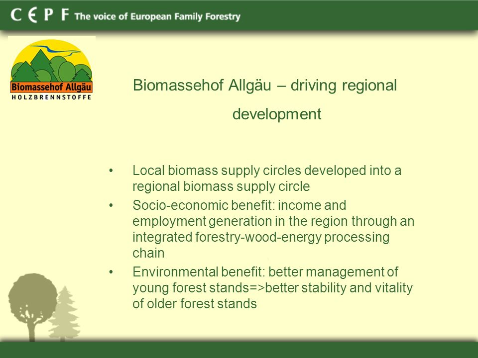 Biomassehof Allgäu – driving regional development Local biomass supply circles developed into a regional biomass supply circle Socio-economic benefit: income and employment generation in the region through an integrated forestry-wood-energy processing chain Environmental benefit: better management of young forest stands=>better stability and vitality of older forest stands
