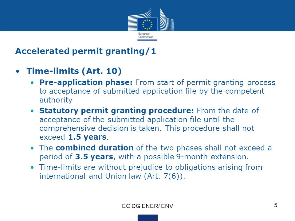 Accelerated permit granting/1 Time-limits (Art.