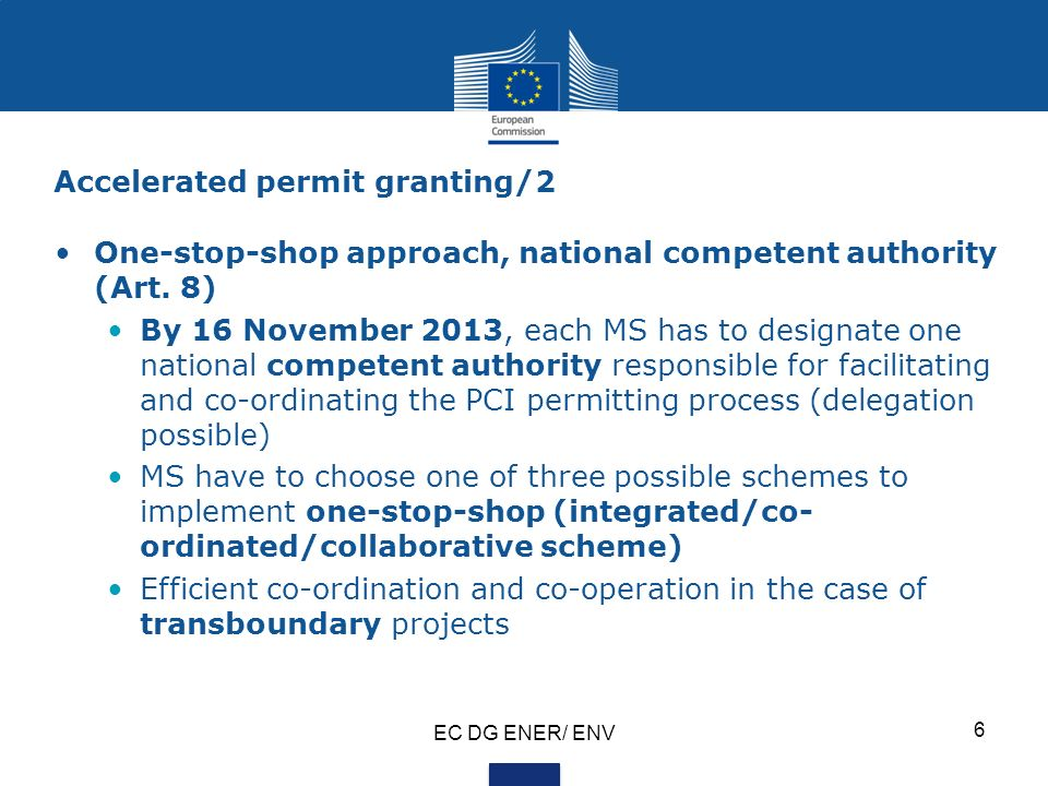 Accelerated permit granting/2 One-stop-shop approach, national competent authority (Art.
