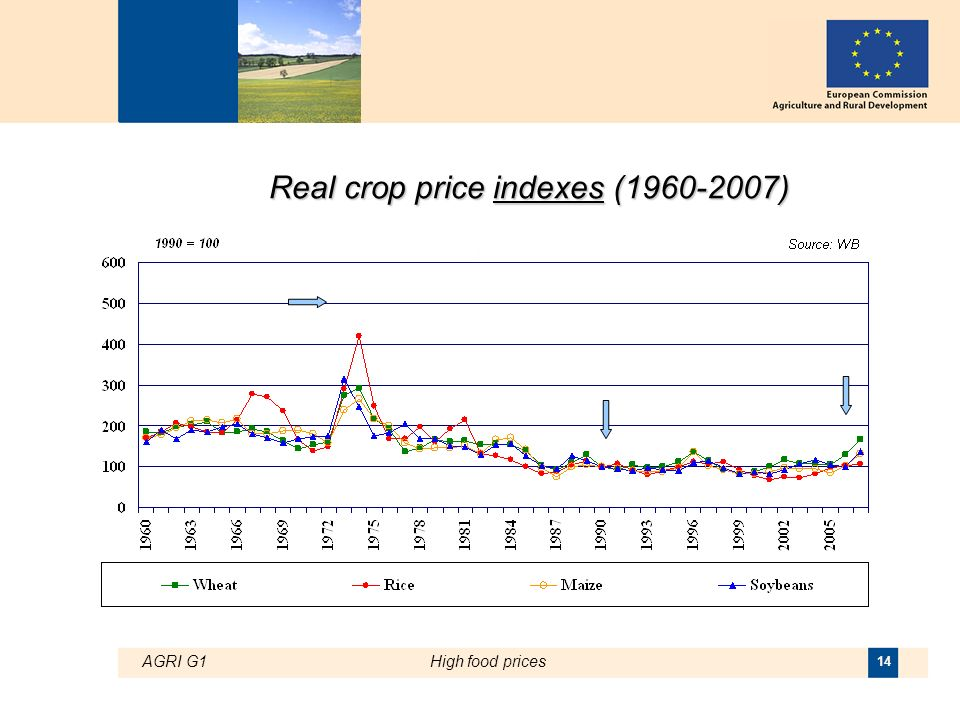 AGRI G1High food prices 14 Real crop price indexes ( )
