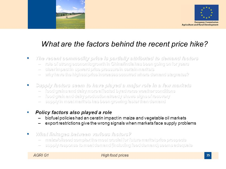 AGRI G1High food prices 35 What are the factors behind the recent price hike