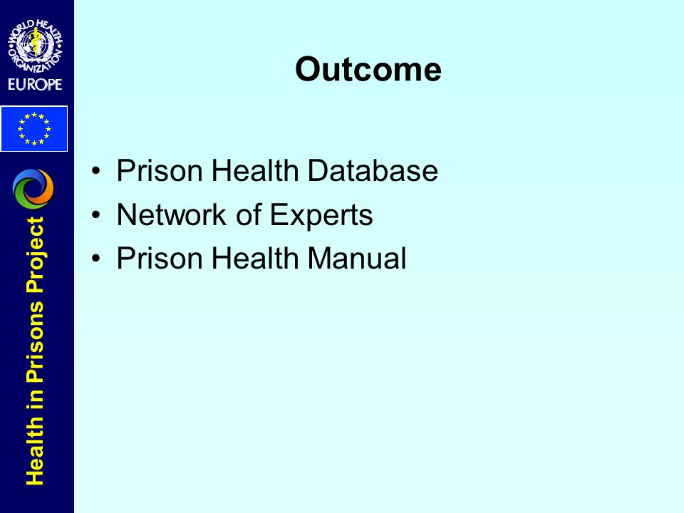 Health in Prisons Project Outcome Prison Health Database Network of Experts Prison Health Manual