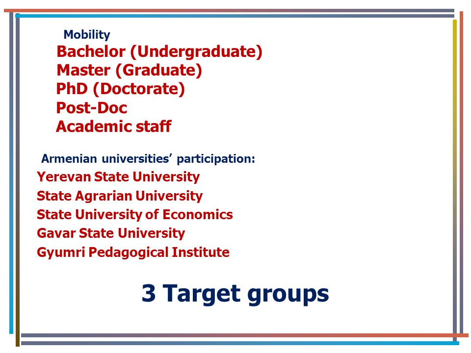 Mobility Bachelor (Undergraduate) Master (Graduate) PhD (Doctorate) Post-Doc Academic staff Armenian universities participation: Yerevan State University State Agrarian University State University of Economics Gavar State University Gyumri Pedagogical Institute 3 Target groups