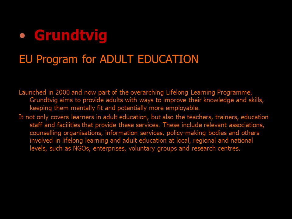 Grundtvig EU Program for ADULT EDUCATION Launched in 2000 and now part of the overarching Lifelong Learning Programme, Grundtvig aims to provide adults with ways to improve their knowledge and skills, keeping them mentally fit and potentially more employable.