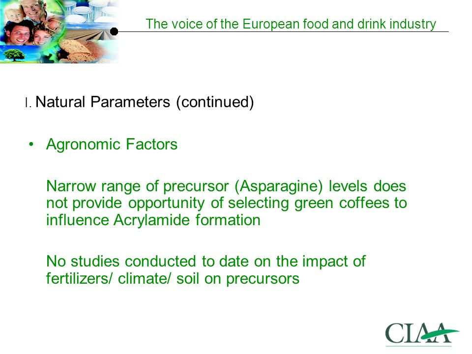The voice of the European food and drink industry Agronomic Factors Narrow range of precursor (Asparagine) levels does not provide opportunity of selecting green coffees to influence Acrylamide formation No studies conducted to date on the impact of fertilizers/ climate/ soil on precursors I.