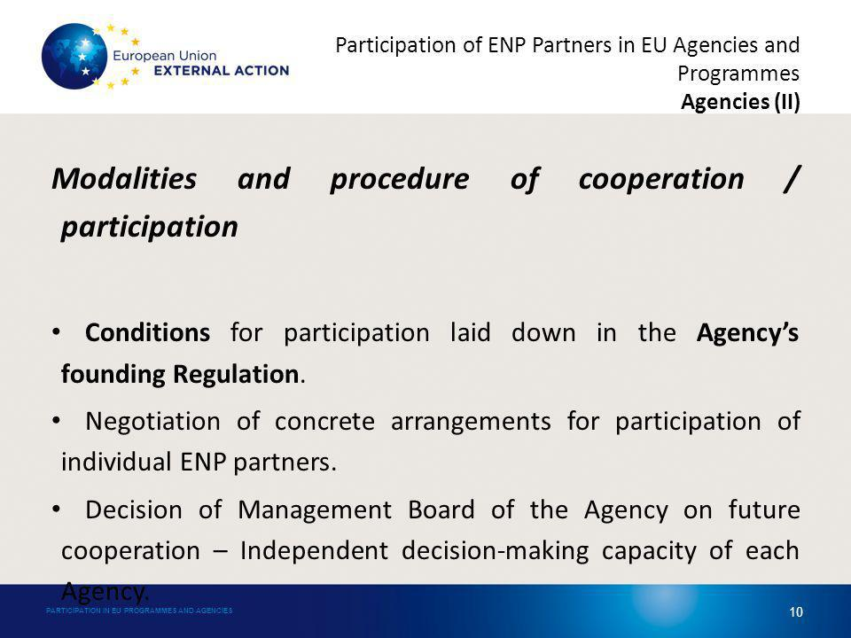 Modalities and procedure of cooperation / participation Conditions for participation laid down in the Agencys founding Regulation.