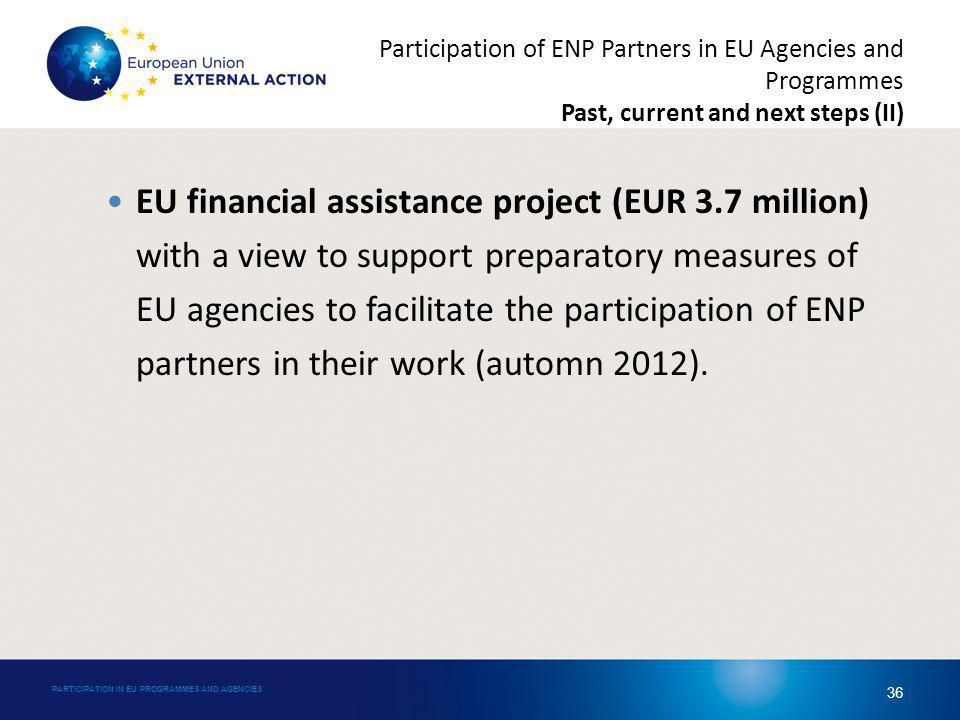 EU financial assistance project (EUR 3.7 million) with a view to support preparatory measures of EU agencies to facilitate the participation of ENP partners in their work (automn 2012).