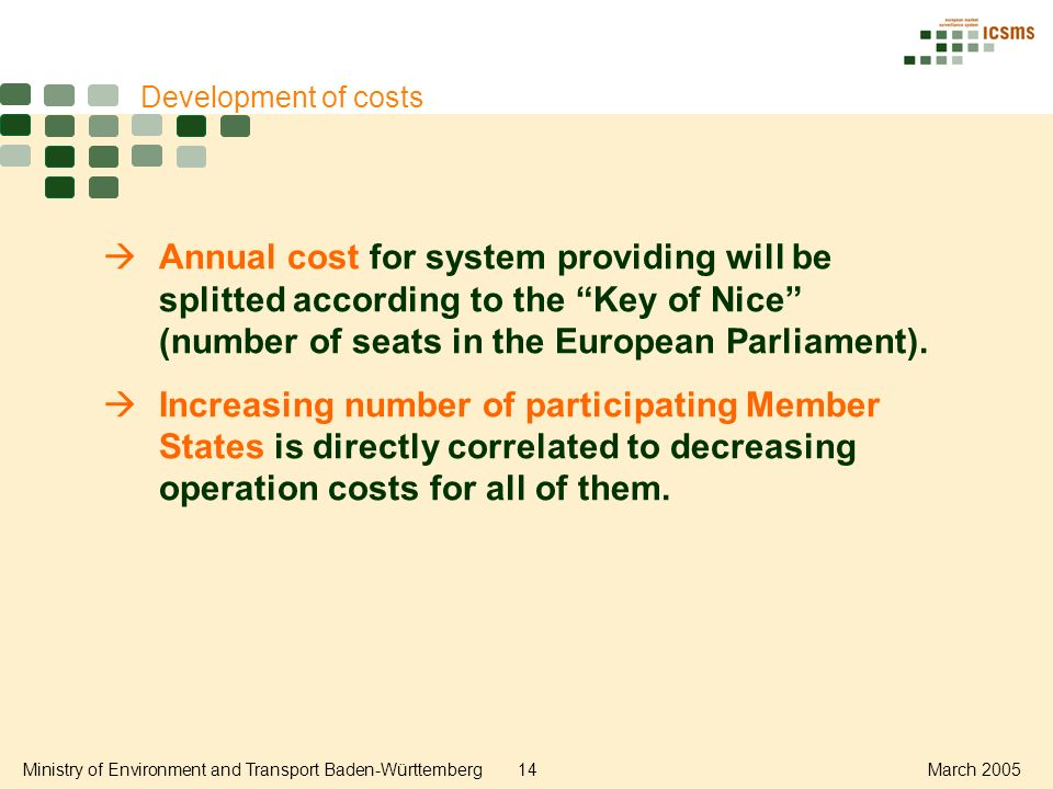 Ministry of Environment and Transport Baden-Württemberg14March 2005 Development of costs Annual cost for system providing will be splitted according to the Key of Nice (number of seats in the European Parliament).