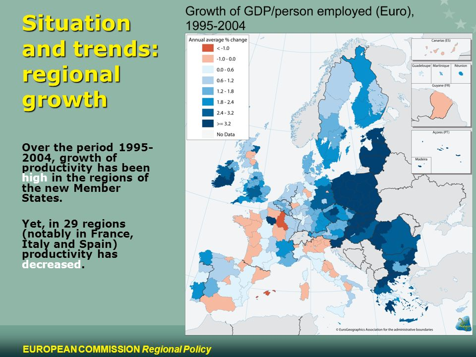 3 EUROPEAN COMMISSION Regional Policy Situation and trends: regional growth Over the period , growth of productivity has been high in the regions of the new Member States.