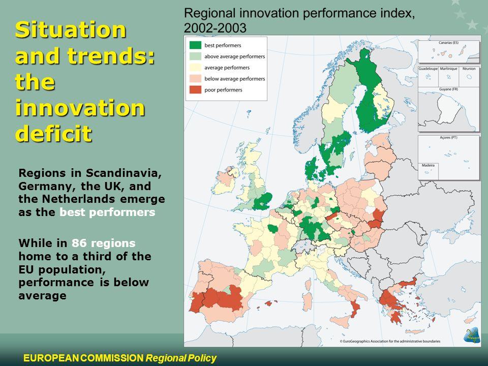 5 EUROPEAN COMMISSION Regional Policy Situation and trends: the innovation deficit Regions in Scandinavia, Germany, the UK, and the Netherlands emerge as the best performers While in 86 regions home to a third of the EU population, performance is below average