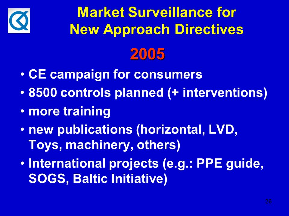 26 Market Surveillance for New Approach Directives 2005 CE campaign for consumers 8500 controls planned (+ interventions) more training new publications (horizontal, LVD, Toys, machinery, others) International projects (e.g.: PPE guide, SOGS, Baltic Initiative)