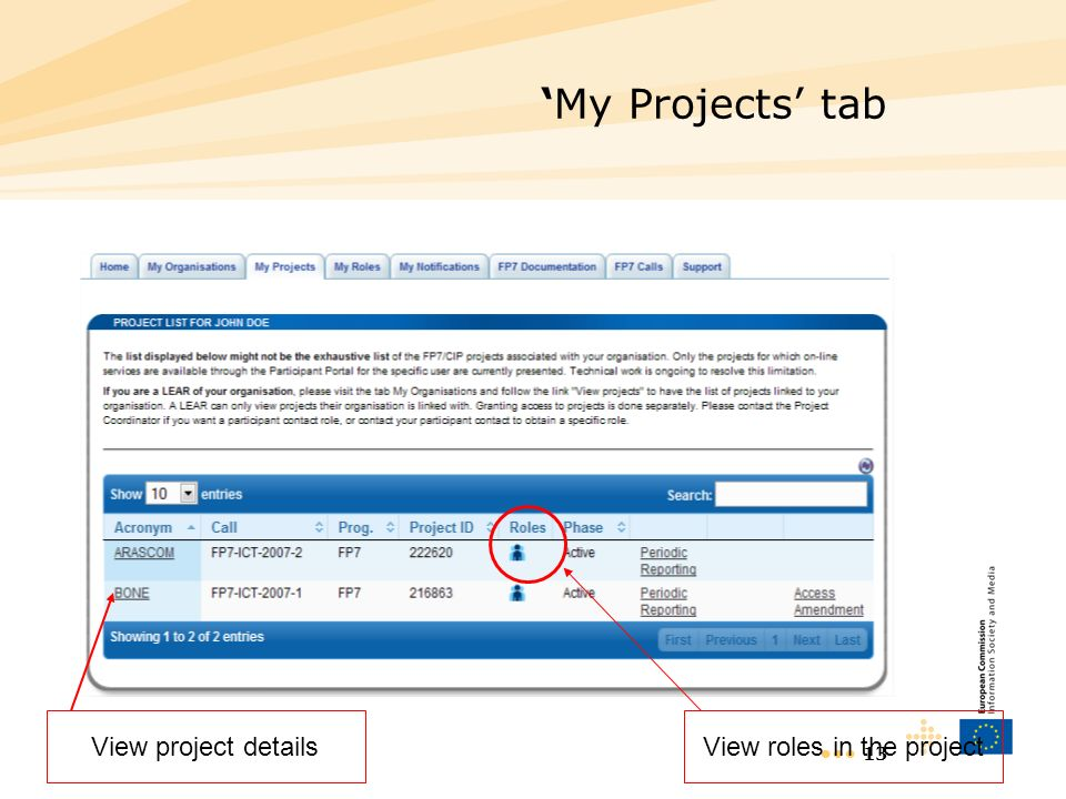 13 My Projects tab View project detailsView roles in the project