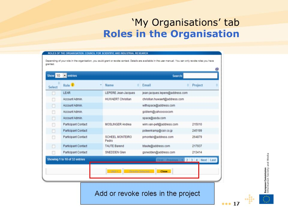 17 My Organisations tab Roles in the Organisation Add or revoke roles in the project