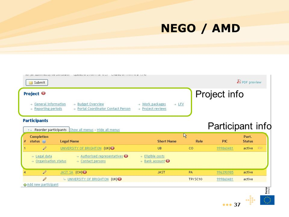 37 NEGO / AMD Project info Participant info