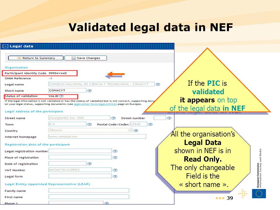 39 Validated legal data in NEF If the PIC is validated it appears on top of the legal data in NEF If the PIC is validated it appears on top of the legal data in NEF All the organisations Legal Data shown in NEF is in Read Only.