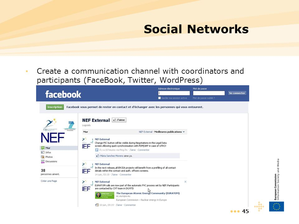 45 Social Networks Create a communication channel with coordinators and participants (FaceBook, Twitter, WordPress)