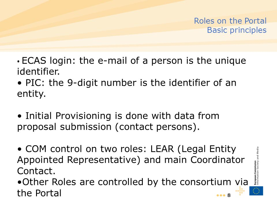 8 Roles on the Portal Basic principles ECAS login: the e-mail of a person is the unique identifier.