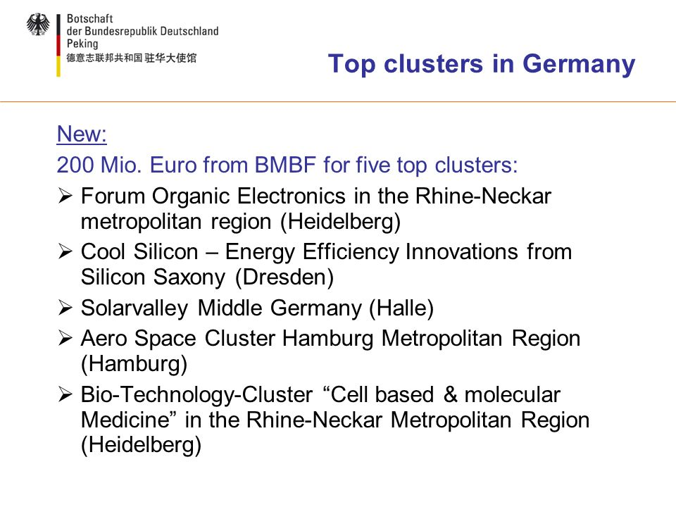 Top clusters in Germany New: 200 Mio.
