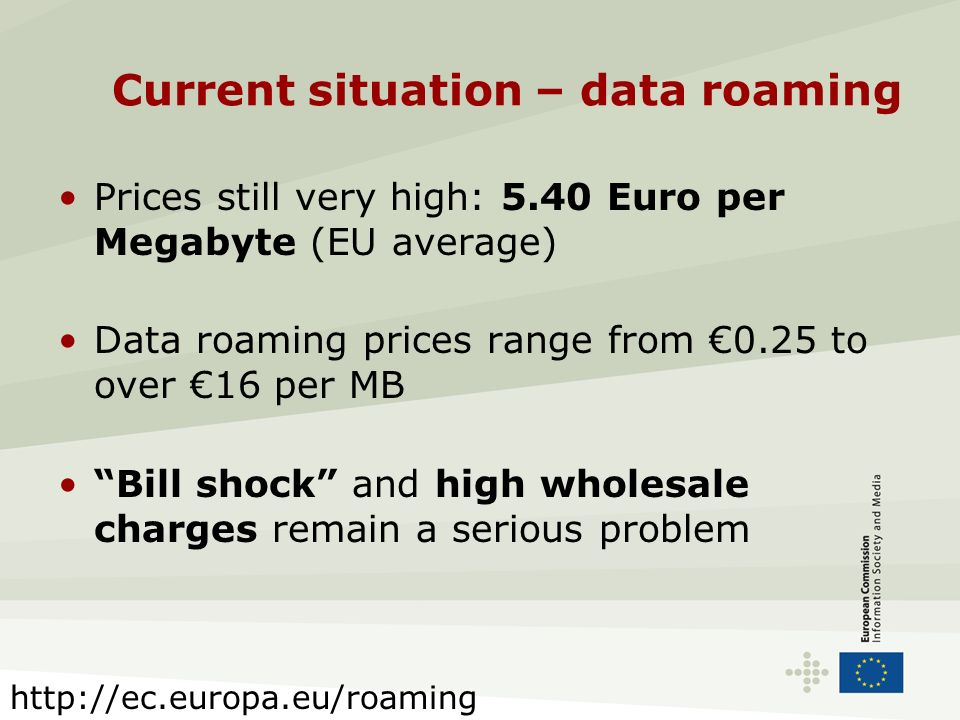 Current situation – data roaming Prices still very high: 5.40 Euro per Megabyte (EU average) Data roaming prices range from 0.25 to over 16 per MB Bill shock and high wholesale charges remain a serious problem http://ec.europa.eu/roaming