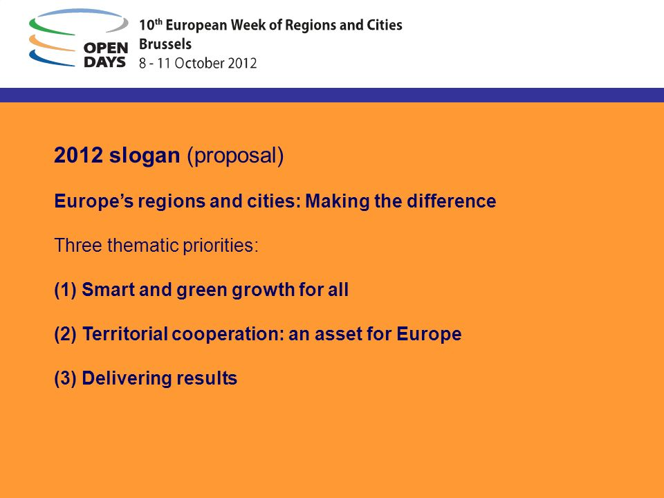 2012 slogan (proposal) Europes regions and cities: Making the difference Three thematic priorities: (1) Smart and green growth for all (2) Territorial cooperation: an asset for Europe (3) Delivering results