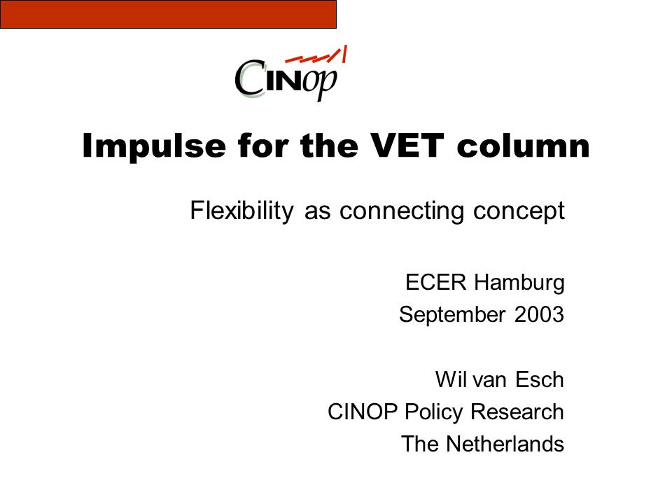 Impulse for the VET column Flexibility as connecting concept ECER Hamburg September 2003 Wil van Esch CINOP Policy Research The Netherlands