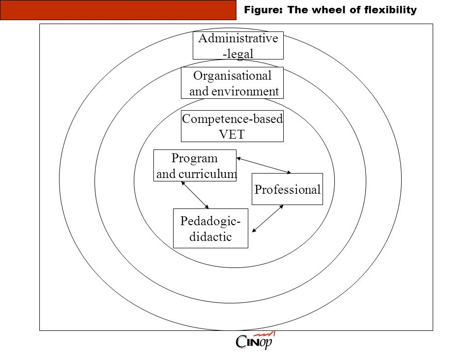 Administrative -legal Organisational and environment Competence-based VET Program and curriculum Professional Pedadogic- didactic Figure: The wheel of flexibility