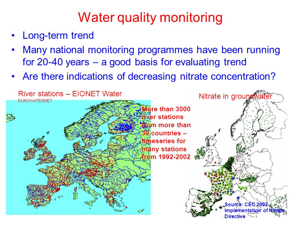 Water quality monitoring Long-term trend Many national monitoring programmes have been running for 20-40 years – a good basis for evaluating trend Are there indications of decreasing nitrate concentration.