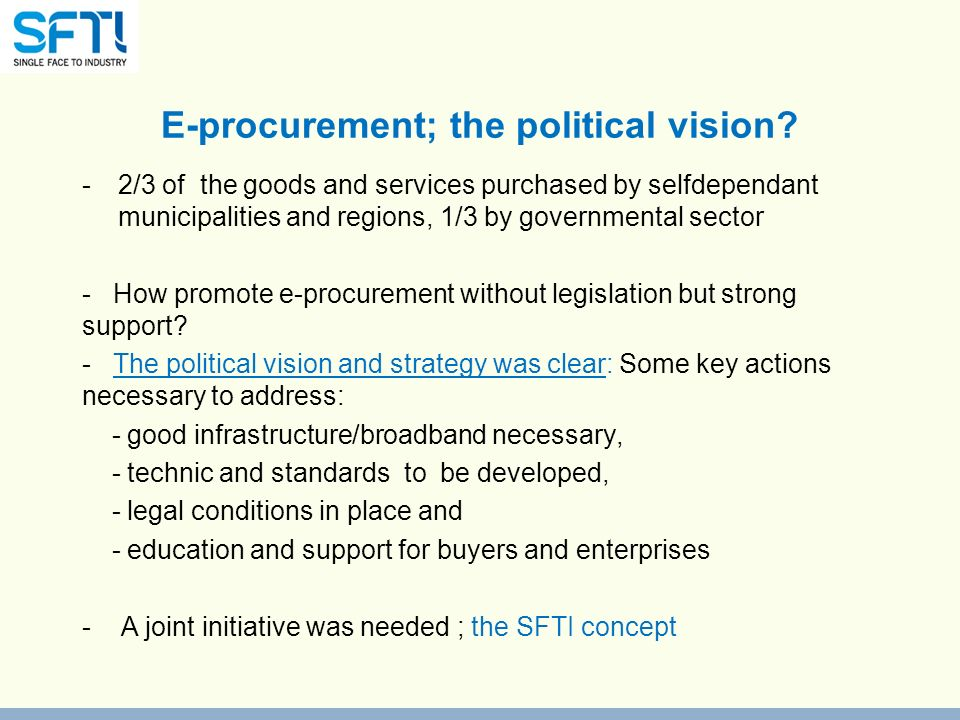 E-procurement; the political vision.