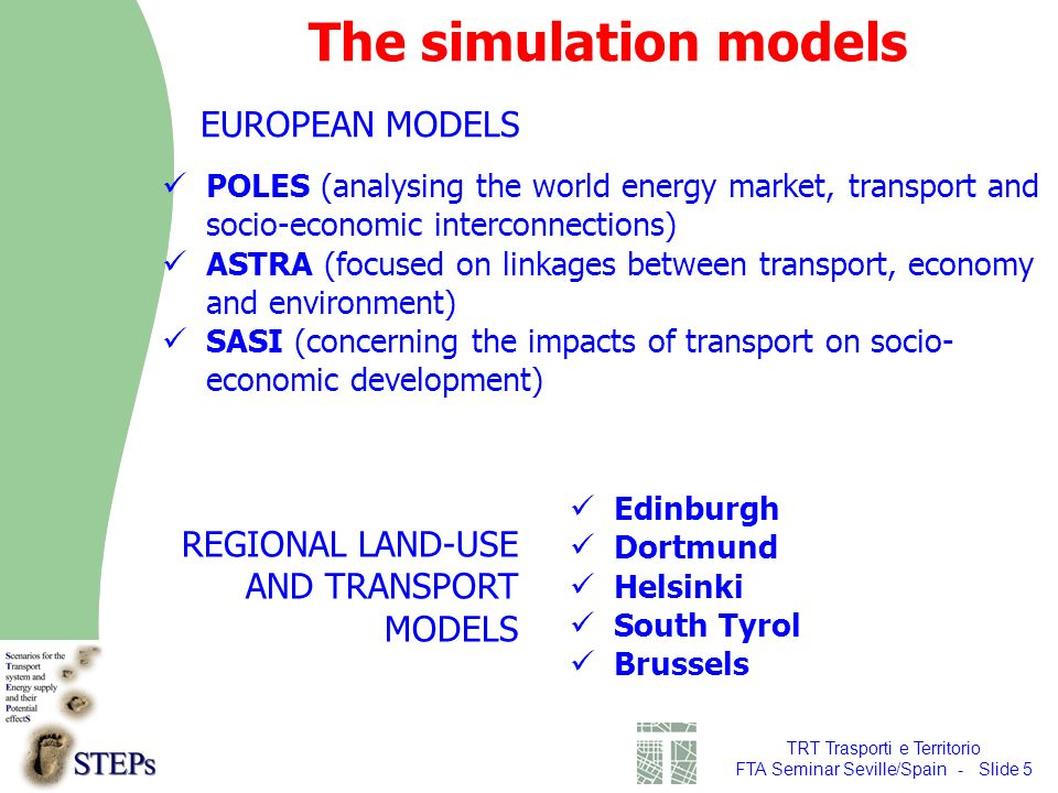 TRT Trasporti e Territorio FTA Seminar Seville/Spain - Slide 5 The simulation models EUROPEAN MODELS REGIONAL LAND-USE AND TRANSPORT MODELS Edinburgh Dortmund Helsinki South Tyrol Brussels POLES (analysing the world energy market, transport and socio-economic interconnections) ASTRA (focused on linkages between transport, economy and environment) SASI (concerning the impacts of transport on socio- economic development)
