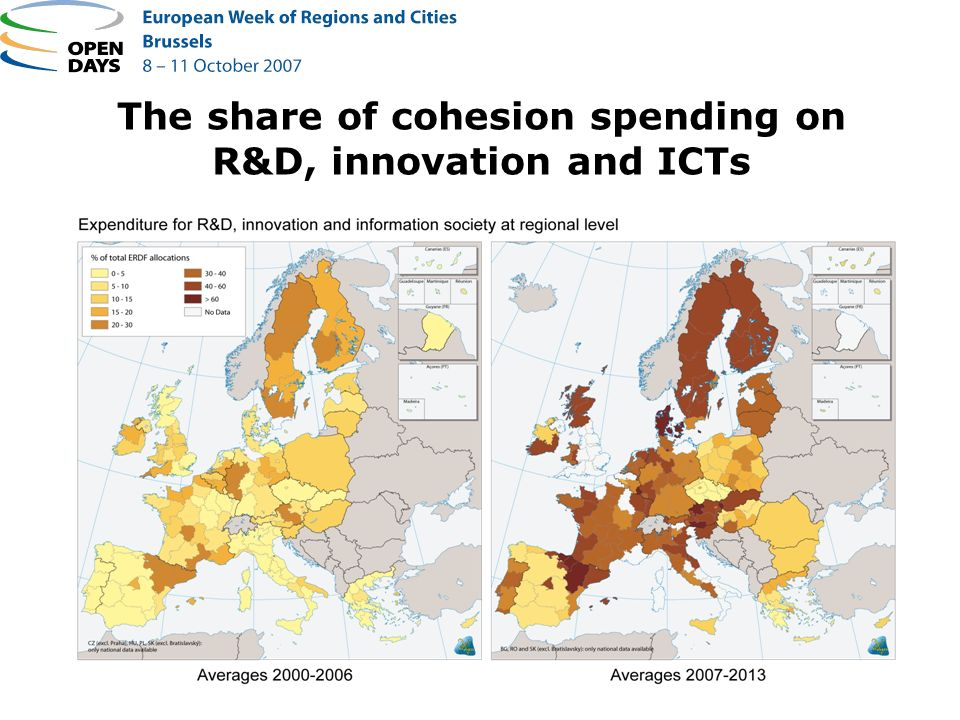 The share of cohesion spending on R&D, innovation and ICTs