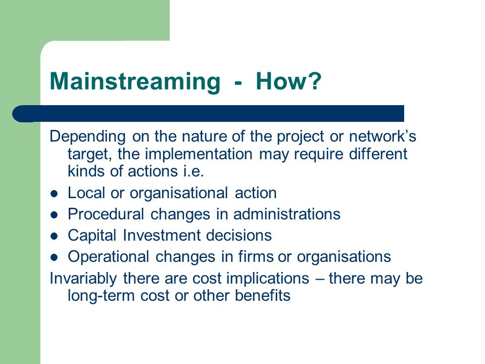 Mainstreaming - How.