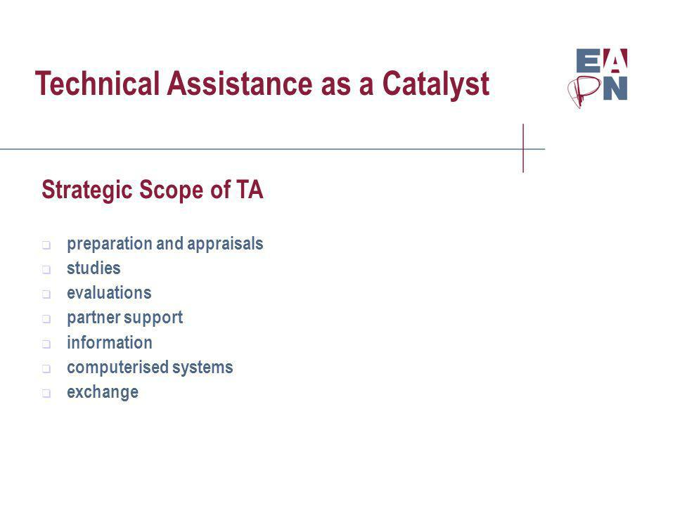 Technical Assistance as a Catalyst Strategic Scope of TA preparation and appraisals studies evaluations partner support information computerised systems exchange