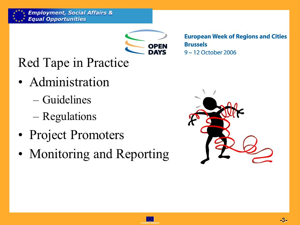 Commission européenne 3 -3- Red Tape in Practice Administration –Guidelines –Regulations Project Promoters Monitoring and Reporting