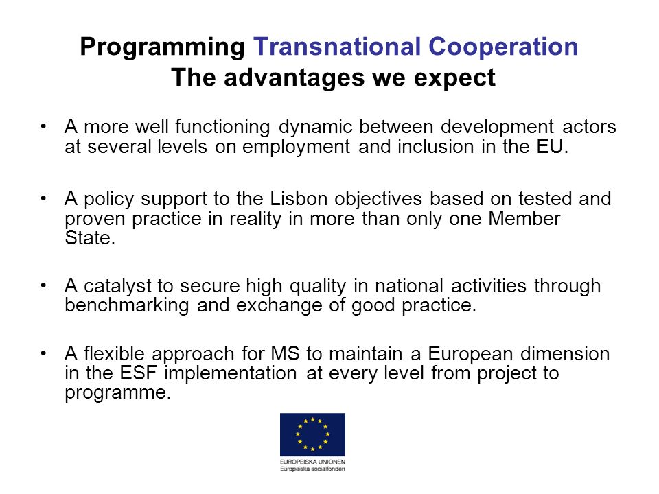 Programming Transnational Cooperation The advantages we expect A more well functioning dynamic between development actors at several levels on employment and inclusion in the EU.