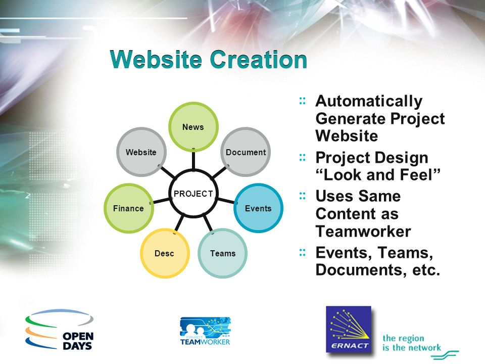 Website Creation Automatically Generate Project Website Project Design Look and Feel Uses Same Content as Teamworker Events, Teams, Documents, etc.