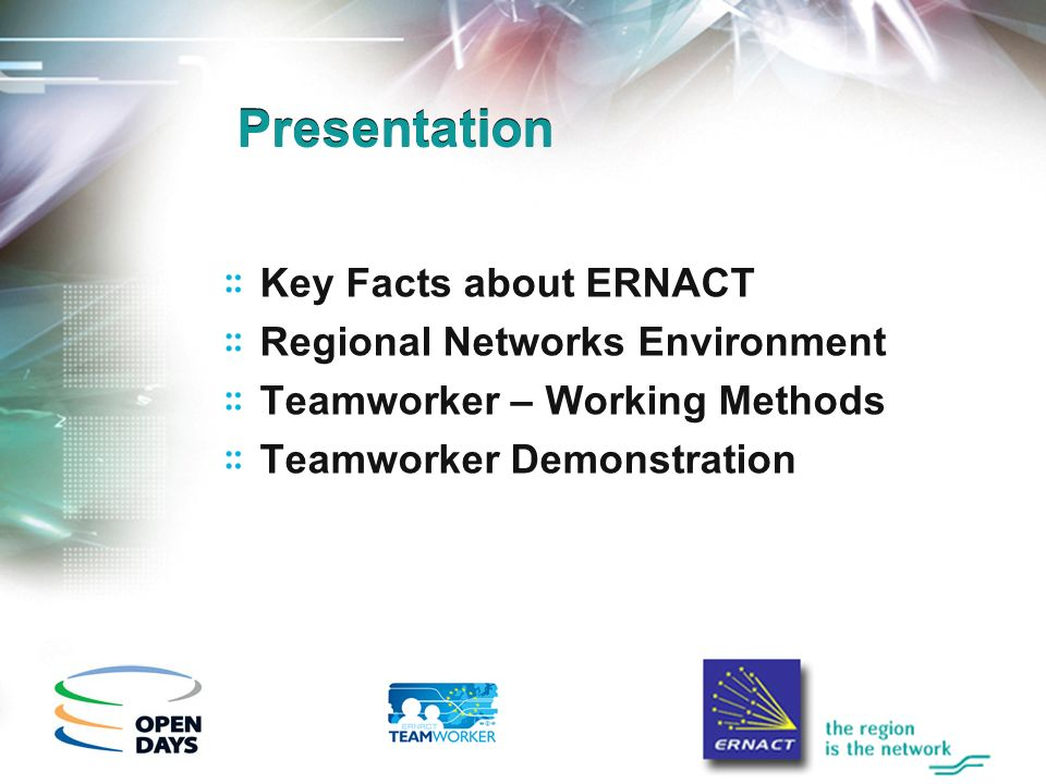 Presentation Key Facts about ERNACT Regional Networks Environment Teamworker – Working Methods Teamworker Demonstration
