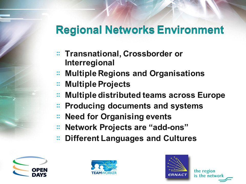 Regional Networks Environment Transnational, Crossborder or Interregional Multiple Regions and Organisations Multiple Projects Multiple distributed teams across Europe Producing documents and systems Need for Organising events Network Projects are add-ons Different Languages and Cultures