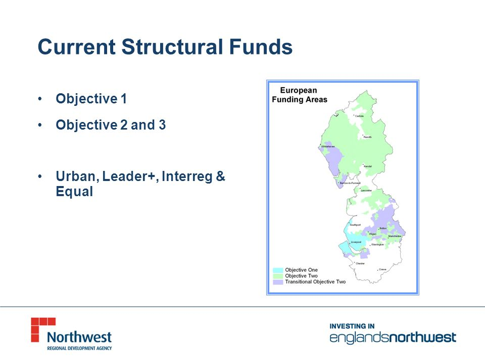 Current Structural Funds Objective 1 Objective 2 and 3 Urban, Leader+, Interreg & Equal