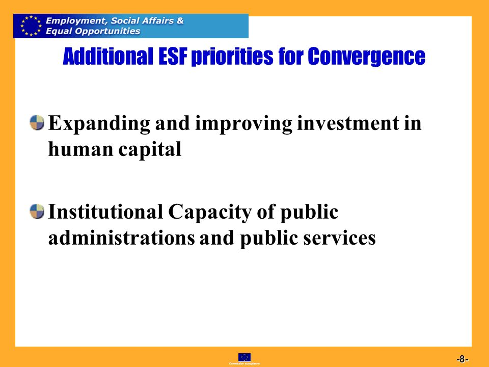 Commission européenne Additional ESF priorities for Convergence Expanding and improving investment in human capital Institutional Capacity of public administrations and public services
