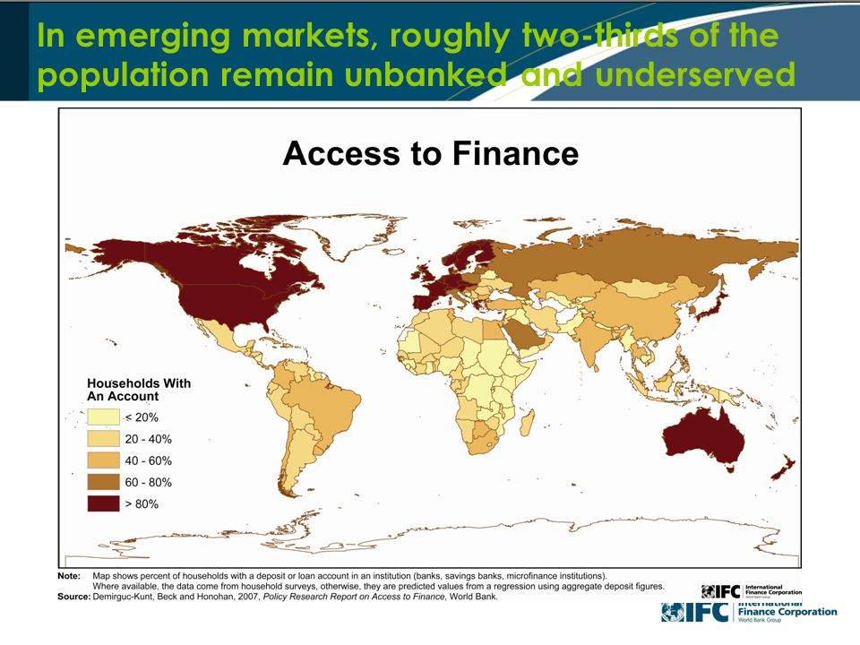 In emerging markets, roughly two-thirds of the population remain unbanked and underserved