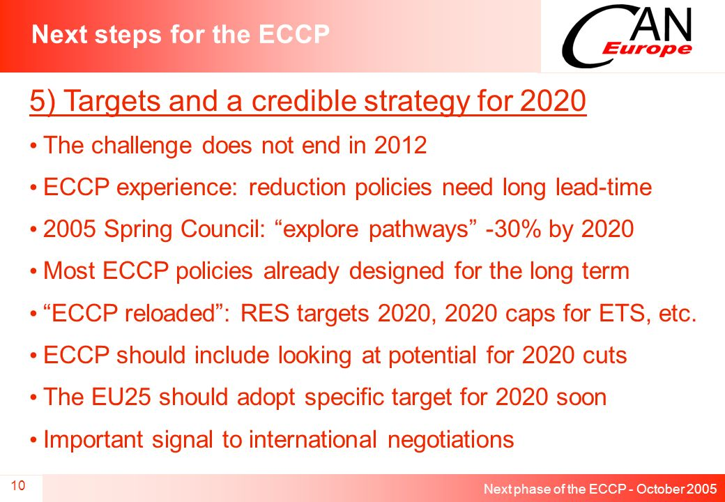 Next phase of the ECCP - October 2005 10 Next steps for the ECCP 5) Targets and a credible strategy for 2020 The challenge does not end in 2012 ECCP experience: reduction policies need long lead-time 2005 Spring Council: explore pathways -30% by 2020 Most ECCP policies already designed for the long term ECCP reloaded: RES targets 2020, 2020 caps for ETS, etc.