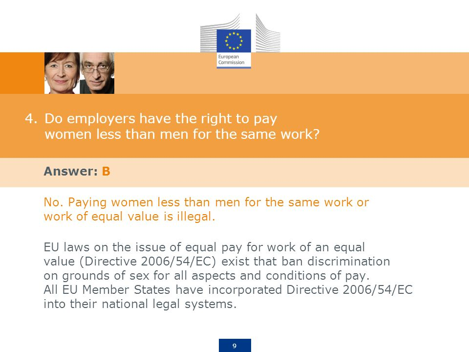 9 4.Do employers have the right to pay women less than men for the same work.