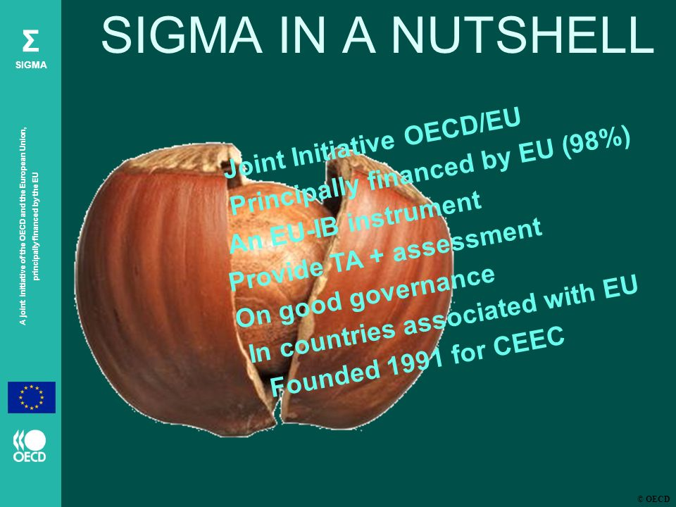 © OECD A joint initiative of the OECD and the European Union, principally financed by the EU Σ SIGMA SIGMA IN A NUTSHELL Joint Initiative OECD/EU Principally financed by EU (98%) An EU-IB instrument Provide TA + assessment On good governance In countries associated with EU Founded 1991 for CEEC