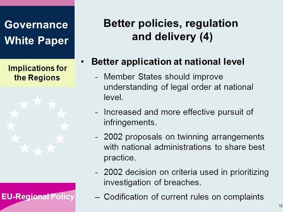 Implications for the Regions EU-Regional Policy 10 Governance White Paper Better policies, regulation and delivery (4) Better application at national level -Member States should improve understanding of legal order at national level.